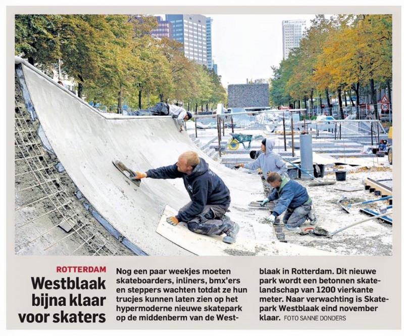 Skatepark Westblaak under construction