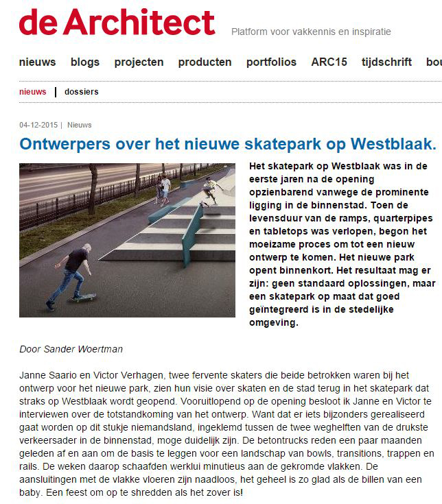 Interview DeArchitect.nl about skateboarding and architecture