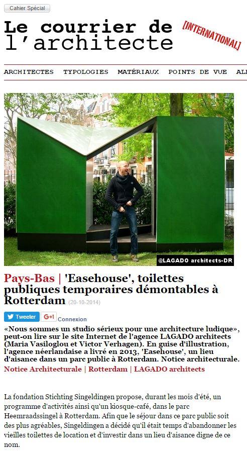 Oh la la our easehouse story in le courier de l for Le architecte