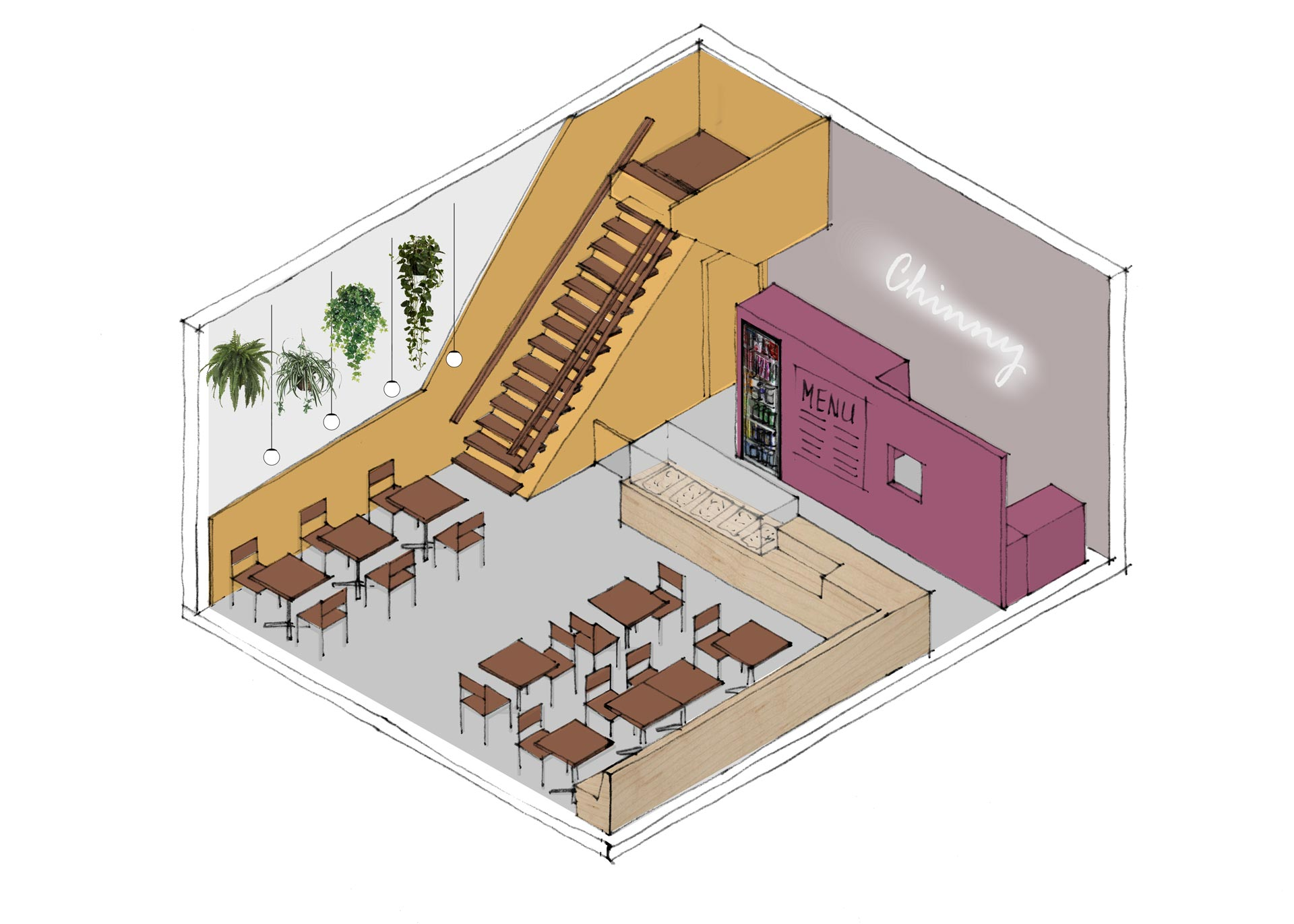 Chinny-Surinam-Streetfood-restaurant-interior-isometric-option-1-lagado-architects