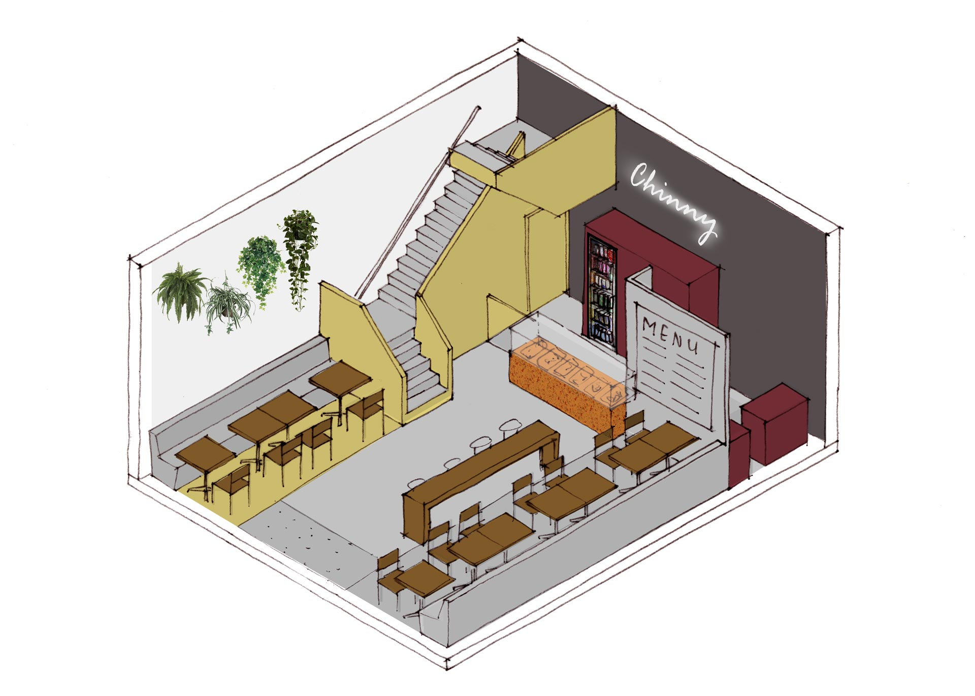Chinny-Surinam-Streetfood-restaurant-interior-isometric-option-3-lagado-architects