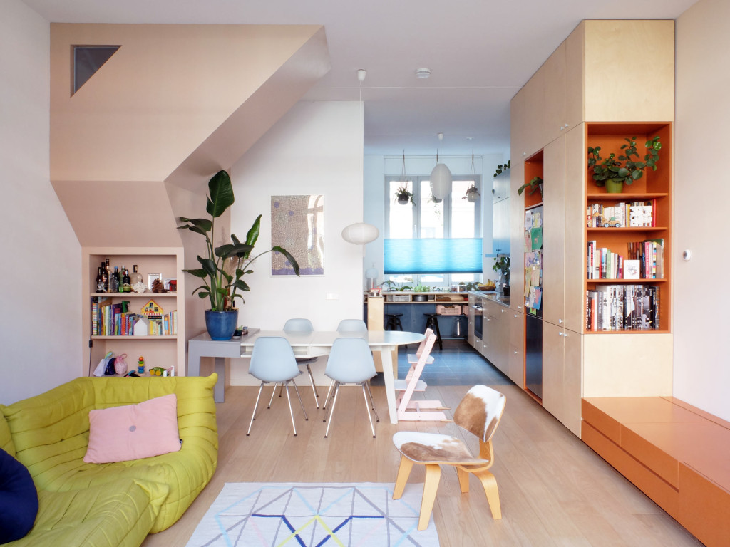 8-LAGADO-architects-workhome-playhome-Rotterdam-stairs-sculpture-interior-orange-pink-triangular-windows-ligne-roset-multitasker-table-by-LAGADO-Architects